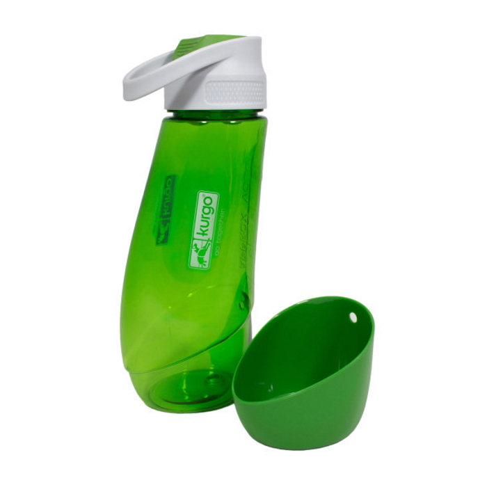 Kurgo Gourd Travel Dog Water Bottle and Bowl_Grass Green