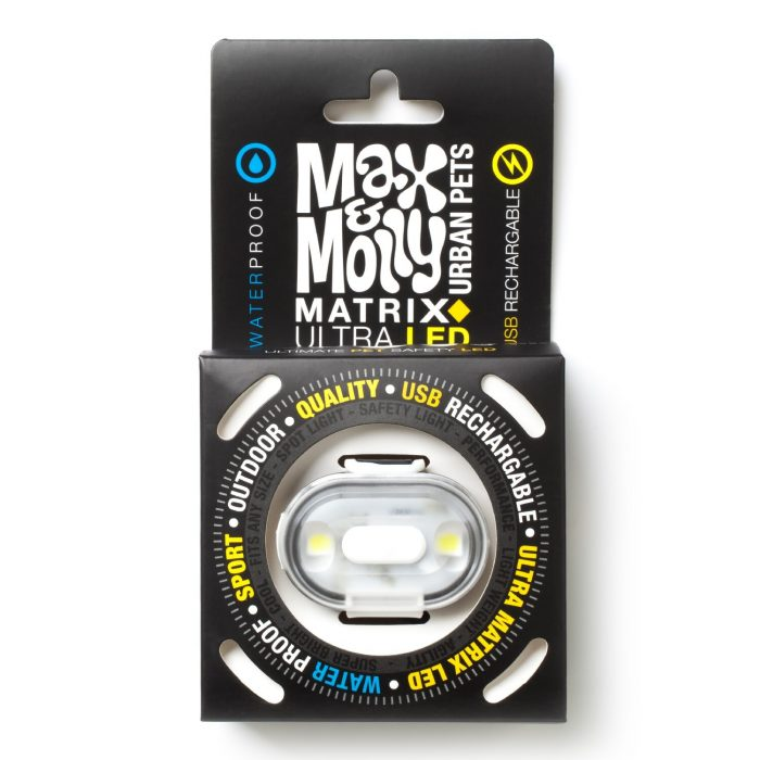 Max & Molly LED Dog Collar Safety Light_White