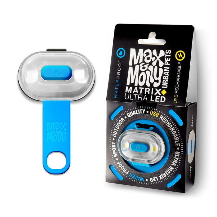 Max and Molly Safety LED Dog Collar Light_blue