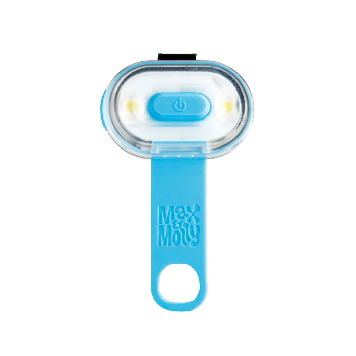 Max and Molly Safety LED Dog Collar Light_blue_silicone strap