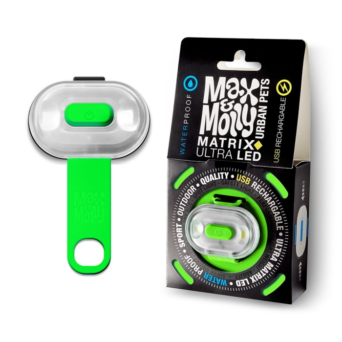 Max and Molly Safety LED Dog Collar Light_green