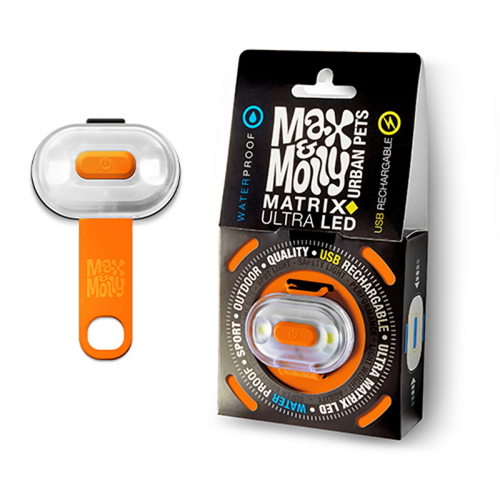 Max and Molly Safety LED Dog Collar Light_orange