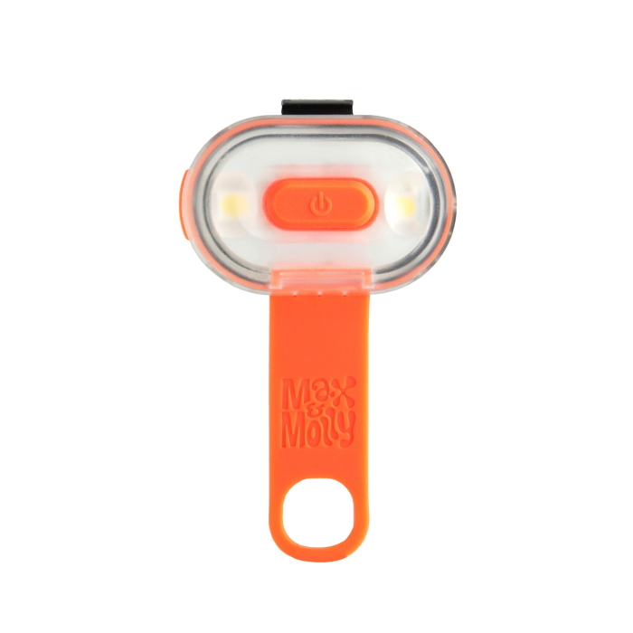 Max and Molly Safety LED Dog Collar Light_orange_silicone strap